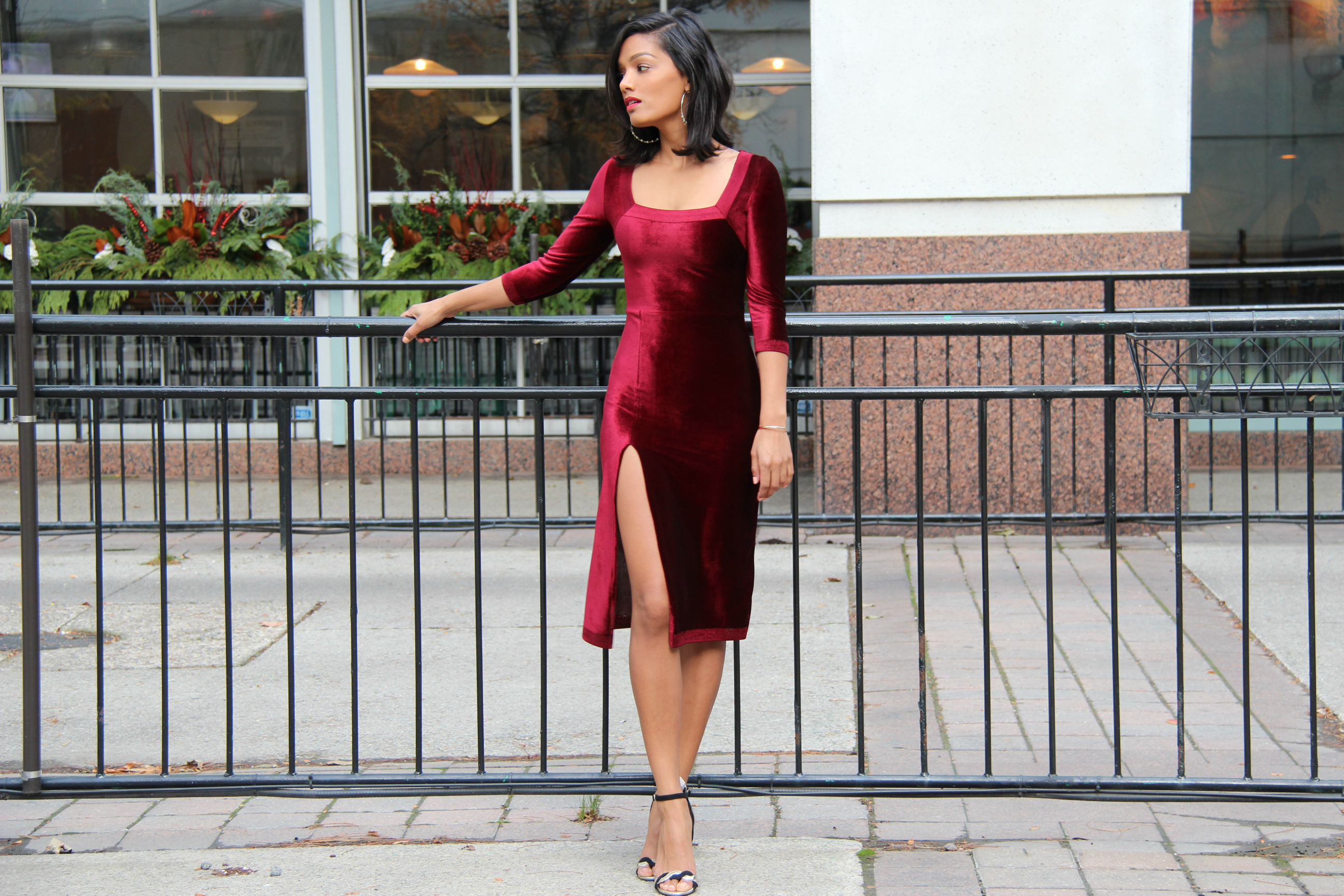 Sweet Shard DIY Red Velvet Dress High Slit. Full length shot of Sharadha wearing dress.