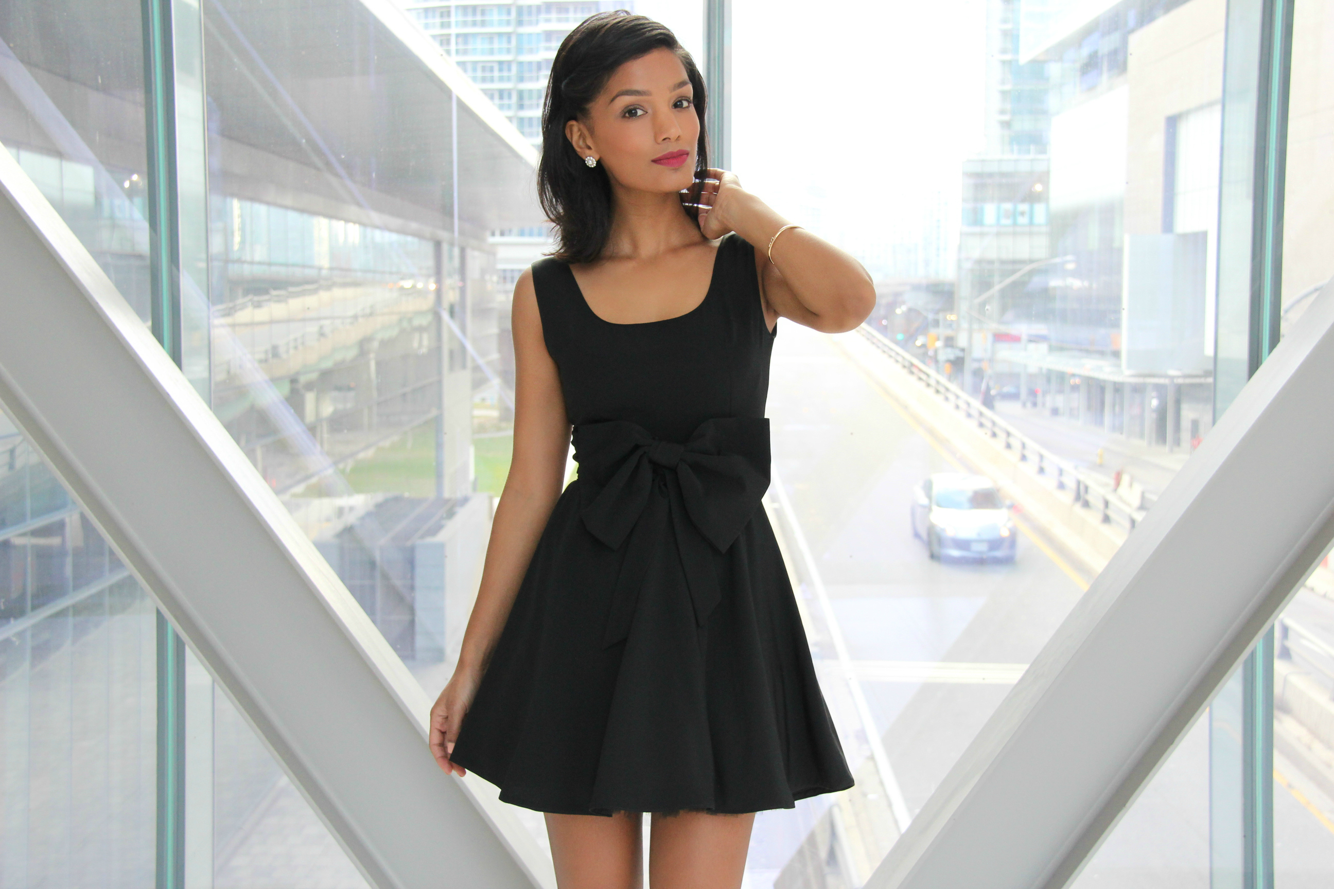 DIY Black Fit and Flare Dress with Bow Detail and Tulle