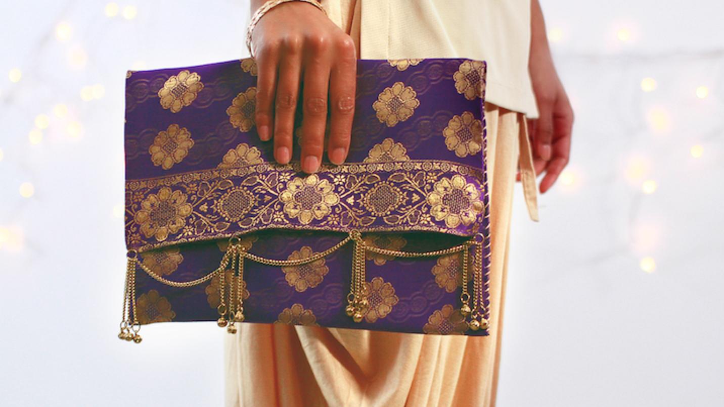 Diwali-Inspired Sari Clutch