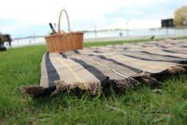 DIY picnic blanket laid on grass
