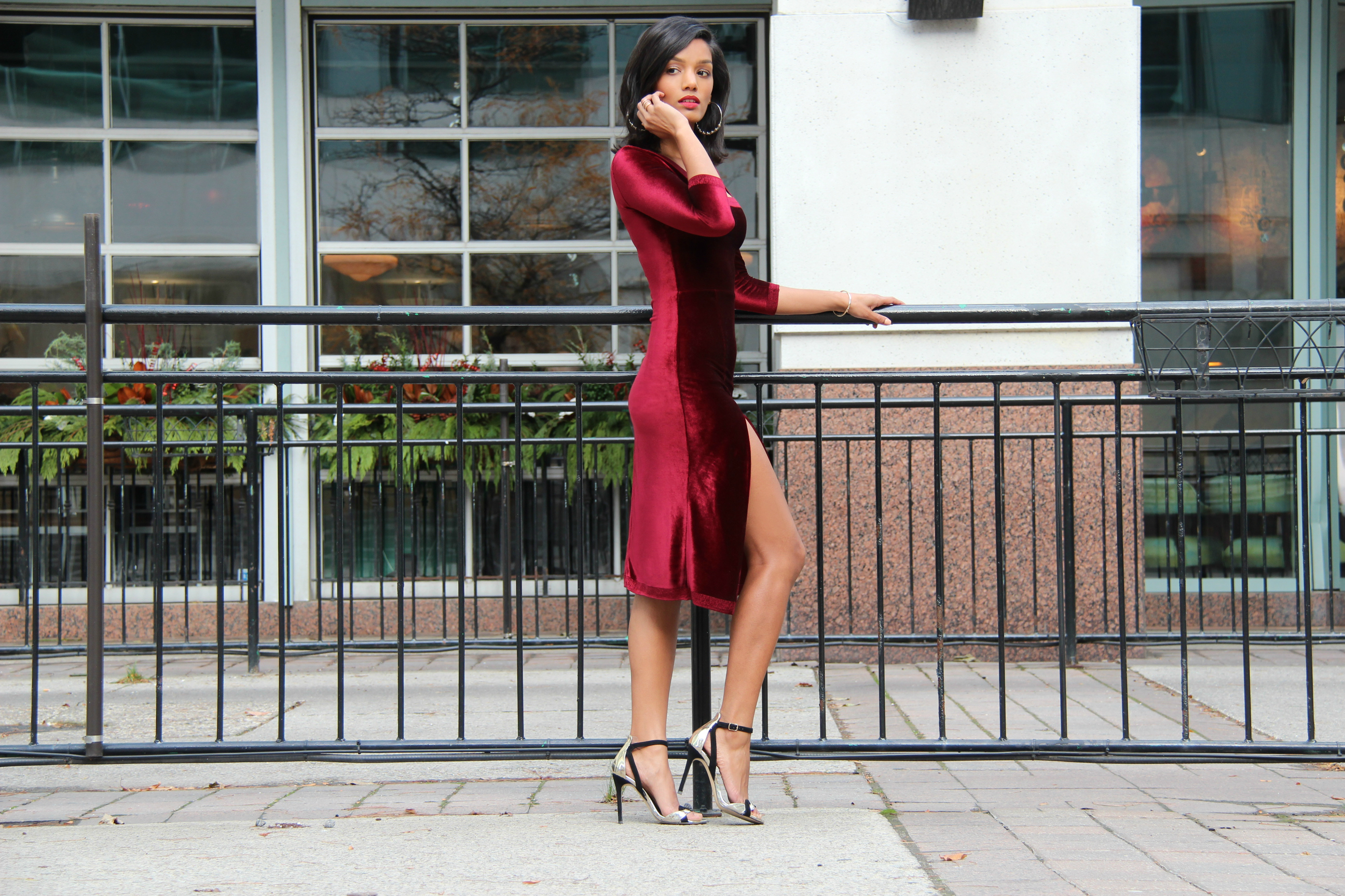 Sweet Shard DIY Red Velvet Dress High Slit. Full length side shot of Sharadha wearing dress.