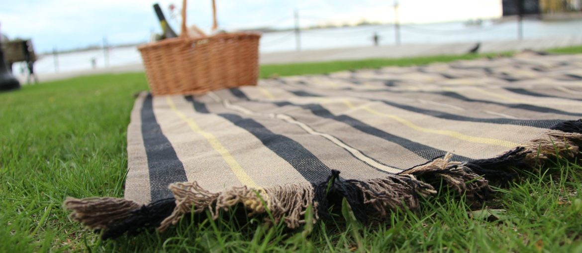 DIY picnic blanket laid on grass